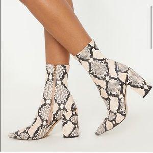 Pretty Little Thing Faux Snakeskin Sock Boot sz 6